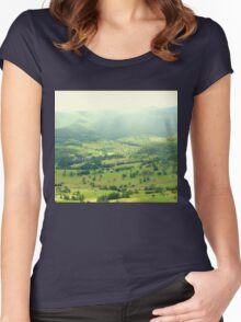 Green Valley from Rosins lookout Beechmont Qld. Australia  Women's Fitted Scoop T-Shirt