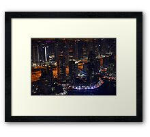 Photography of tall buildings, skyscrapers from Dubai at night, United Arab Emirates. Framed Print