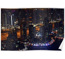 Photography of tall buildings, skyscrapers from Dubai at night, United Arab Emirates. Poster