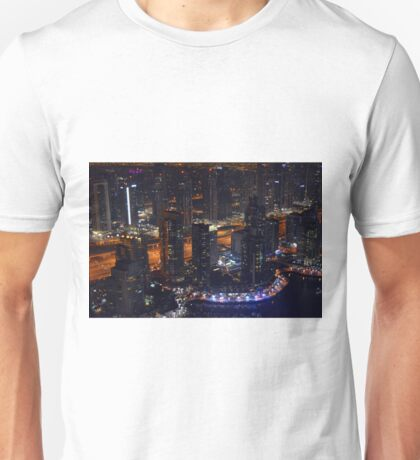 Photography of tall buildings, skyscrapers from Dubai at night, United Arab Emirates. Unisex T-Shirt