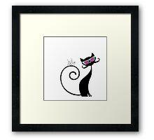 Smart cat-Birt  Framed Print