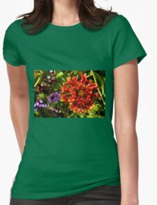Beautiful colorful red flower in the garden. Womens Fitted T-Shirt