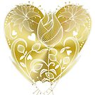 White Inked Floral Gold Heart by Lesley Smitheringale