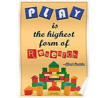 Albert Einstein Children Play Quotes Poster