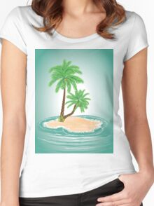 Palm Tree on Island 2 Women's Fitted Scoop T-Shirt