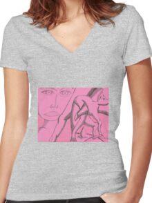 dark side of light Women's Fitted V-Neck T-Shirt