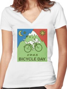 LSD - Bicycle Day 1943 Vintage T-Shirts Women's Fitted V-Neck T-Shirt