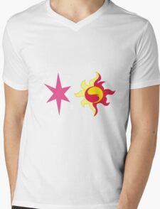 My little Pony - Sunset Shimmer + Twilight Sparkle Cutie Mark Mens V-Neck T-Shirt