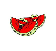 melon slices 2 pieces few watermelon eating delicious comic cartoon funny faces team buddies Photographic Print