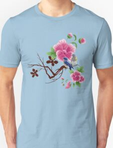 Cute small birds and yellow flowers T-Shirt
