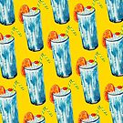 Blue Hawaii Cocktail Pattern - Yellow by Kelly  Gilleran