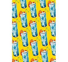 Blue Hawaii Cocktail Pattern - Yellow Photographic Print