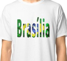 Brasilia Word With Flag Texture Classic T-Shirt