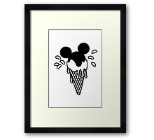 B&W Mickey Icecream Splash Framed Print
