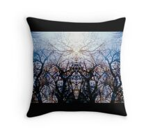 Stained Glass Woodlands Throw Pillow