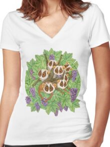 Monkey Loris Family Women's Fitted V-Neck T-Shirt