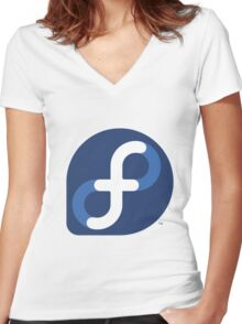 FEDORA LINUX Women's Fitted V-Neck T-Shirt