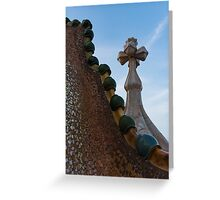 Capricious Trencadis Mosaics - Antoni Gaudi's Dragon's Back and Cross Turret at Casa Batllo Greeting Card