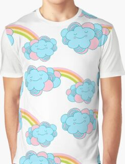 Vector seamless pattern with the clouds and rainbow Graphic T-Shirt