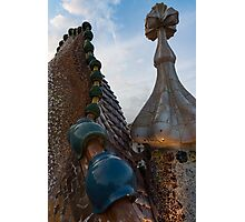 Up Close and Personal - Antoni Gaudi's Dragon's Back and Cross Turret at Casa Batllo Photographic Print