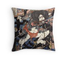 Lang Libai And Fei Zhangan - Kuniyoshi Utagawa - 1826 - woodcut Throw Pillow
