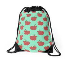 Bitten Apple Blue Green Pattern Drawstring Bag