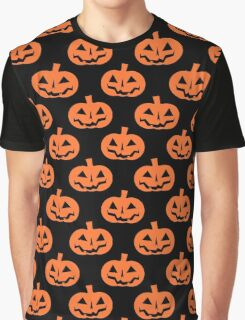 Black and Orange Jack O' Lantern Pattern Graphic T-Shirt