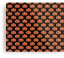 Black and Orange Jack O' Lantern Pattern Metal Print