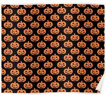 Black and Orange Jack O' Lantern Pattern Poster