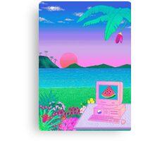 Pixel Vaporwave Canvas Print