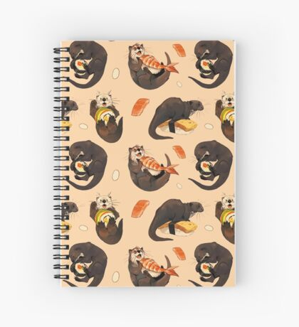 Tiny otters and their sushi Spiral Notebook
