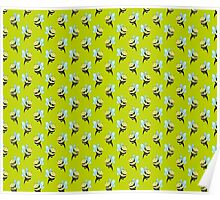 Bee Cat Lime Green Pattern Poster