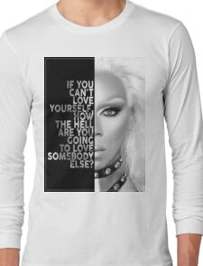 Ru Paul Text Portrait Long Sleeve T-Shirt