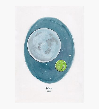 Haruki Murakami's 1Q84 // Novel Illustration of Two Moons in a Night Sky in Pencil & Watercolour Photographic Print
