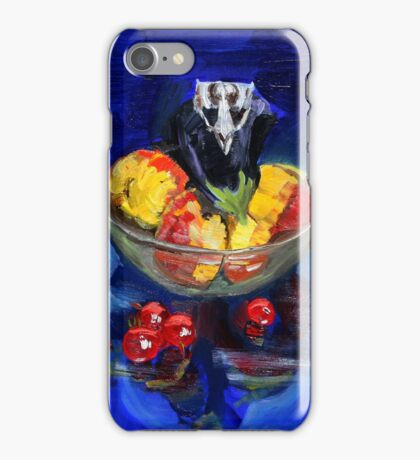 Possum scull on fruit in glass bowl on blue with cherry tomatoes iPhone Case/Skin