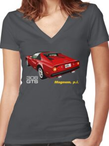 Ferrari 308 GTS from Magnum, p.i. Women's Fitted V-Neck T-Shirt