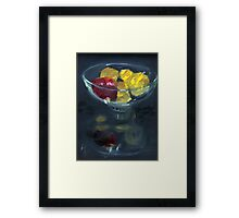 Quinces and pomegranate reflected in glass bowl Framed Print