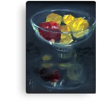 Quinces and pomegranate reflected in glass bowl Canvas Print