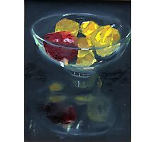 Quinces and pomegranate reflected in glass bowl Photographic Print