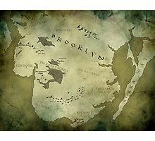 Brooklyn Map-Green Photographic Print