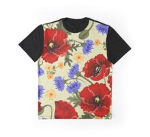 Poppy Flowers, Petals, Leaves - Red Green Blue Graphic T-Shirt