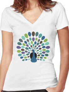 Peacock Time Women's Fitted V-Neck T-Shirt