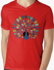 Peacock Time Mens V-Neck T-Shirt