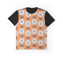 Retro Flowers, Petals, Leaves - Orange Blue Brown Graphic T-Shirt