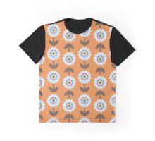 Retro Flowers, Petals, Leaves - Orange Blue Brown Graphic T-Shirt