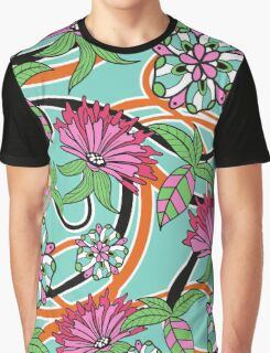 Flowers, Petals, Leaves, Swirls - Green Pink Blue Graphic T-Shirt