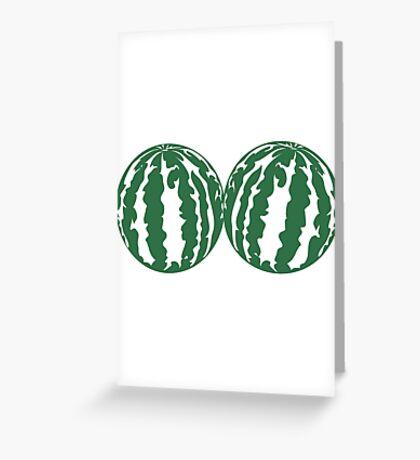 2 melons watermelon bosom breasts balls boobs funny Greeting Card