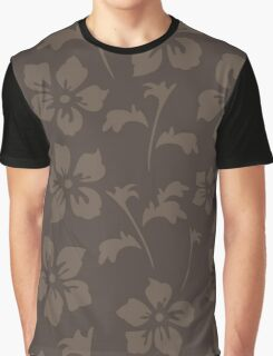 Flowers, Petals, Leaves, Blossoms - Brown Graphic T-Shirt