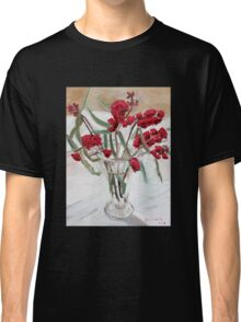 Red gum blossums in glass vase on white Classic T-Shirt