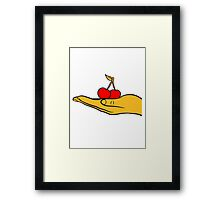 2 cherry leaf delicious design show hand hold Framed Print